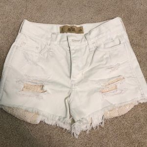 Hollister White Jean Shorts with Crochet